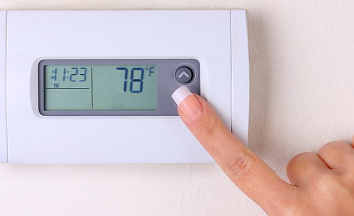 Thermostat set to 78 degrees