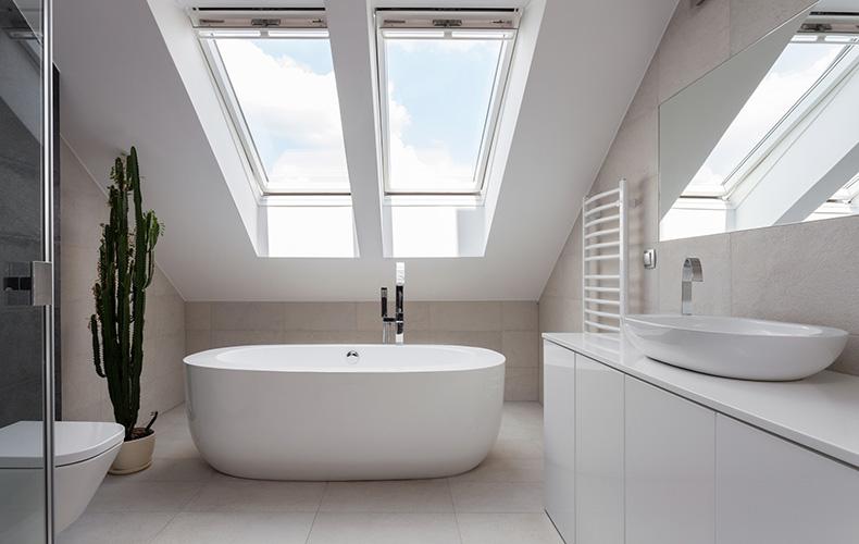 Skylights in bathroom
